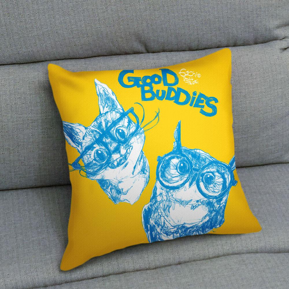 UMade|藝術家創作抱枕 -  GOOD BUDDIES─貓貓貓頭鷹 - 劉宜其 61Chi (48x48cm)