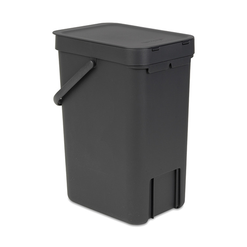 Brabantia 多功能餐廚置物桶12L-灰黑色