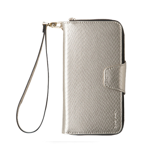Navjack|iPhone  7 | 8 Plus 共用  (5.5吋) 蛇皮壓紋拉鍊式錢包皮套 香檳色