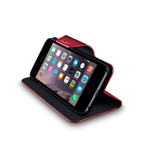 Navjack|iPhone 6 Plus /  6s Plus 蛇皮壓紋側掀保護套(紅)