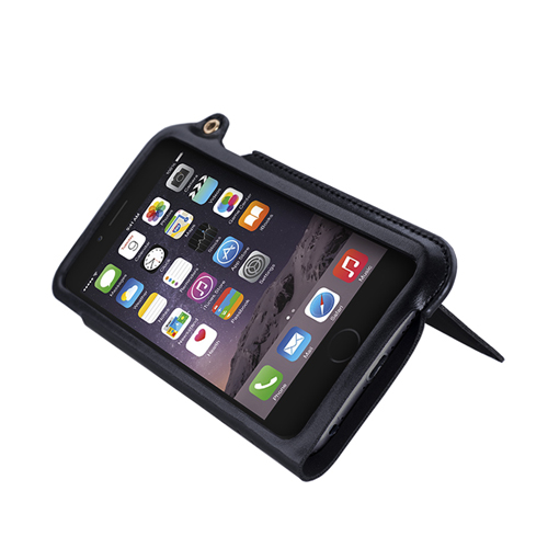 Navjack iPhone 6 / 6s 掛繩式卡夾站立皮套(漆黑銀)