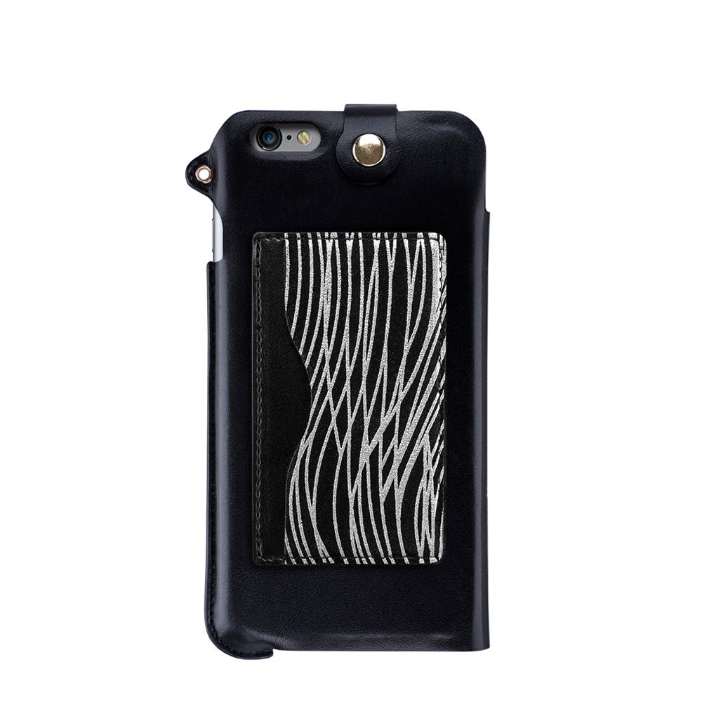 Navjack|iPhone 6 Plus / 6s Plus 掛繩式卡夾站立皮套(漆黑銀)