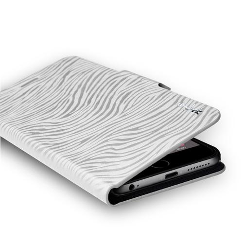 Navjack|iPhone 6 Plus /  6s Plus 斑馬紋側掀保護套(珍珠白)