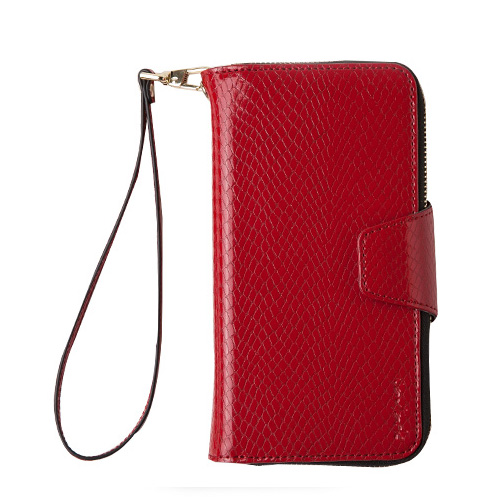 Navjack|iPhone 7 | 8 Plus 共用 (5.5吋) 蛇皮壓紋拉鍊式錢包皮套 嫣紅色