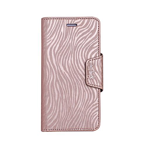 Navjack|iPhone 7  | 8 共用斑馬紋側掀站立式保護套(香檳金)