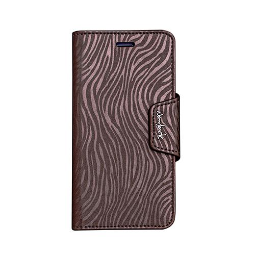 Navjack iPhone 7   8 Plus 共用斑馬紋側掀站立式保護套(古銅棕)