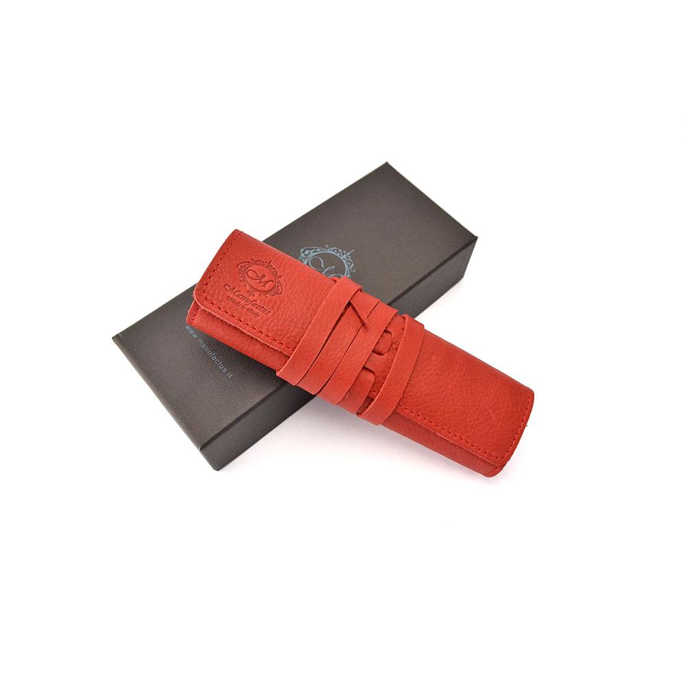 Manufactus │ 義大利皮革筆袋(藍/紅/酒紅/紫紅) - E495