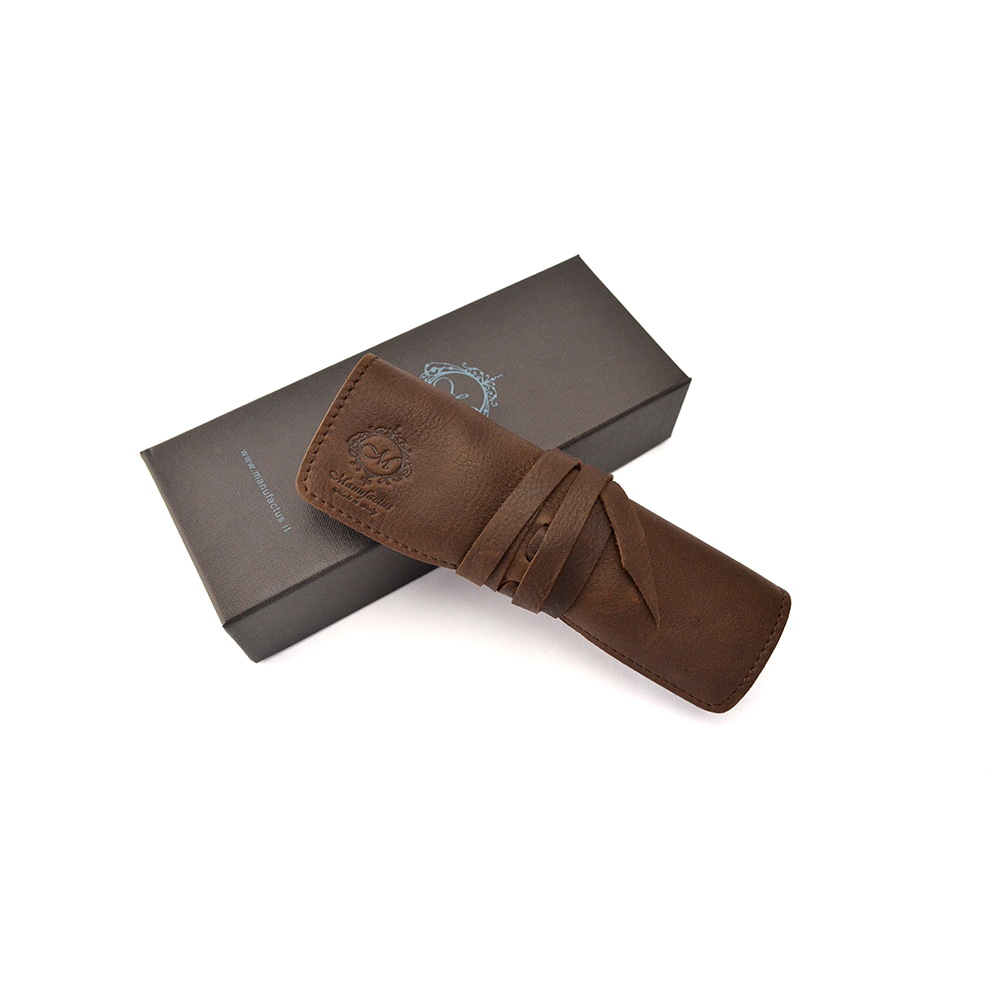 Manufactus │ 義大利皮革筆袋(霧面咖啡/霧面棕) - E495