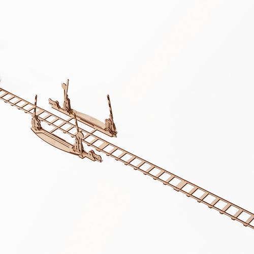 Ugears  自我推進模型 Set of rails 鐵軌及平交道