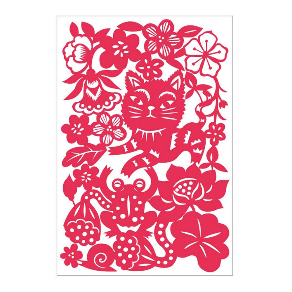島民|剪紙靜電貼 - 貓與青蛙 / 大 / 紅