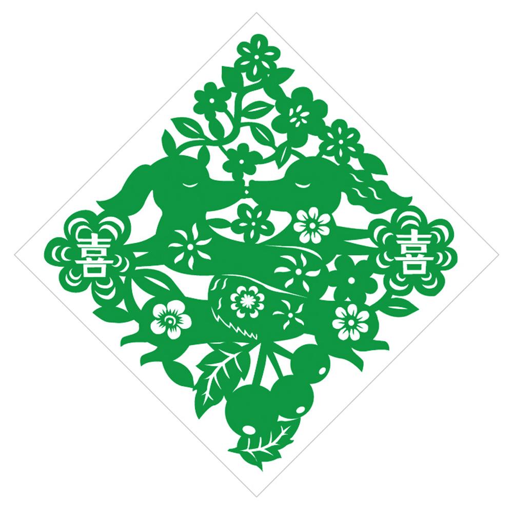 島民|剪紙靜電貼 - 長長久久 / 中