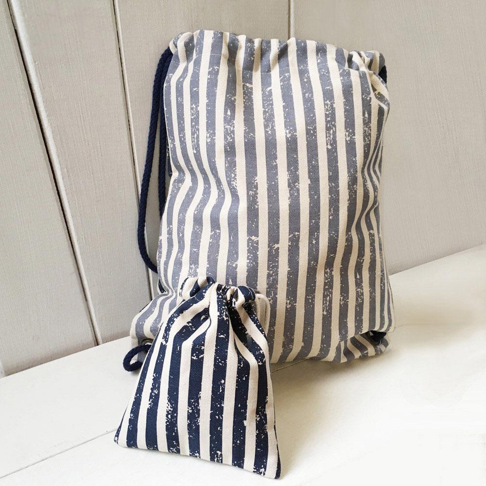 WaWu|束口後背包+小收納袋 (條紋NEW)