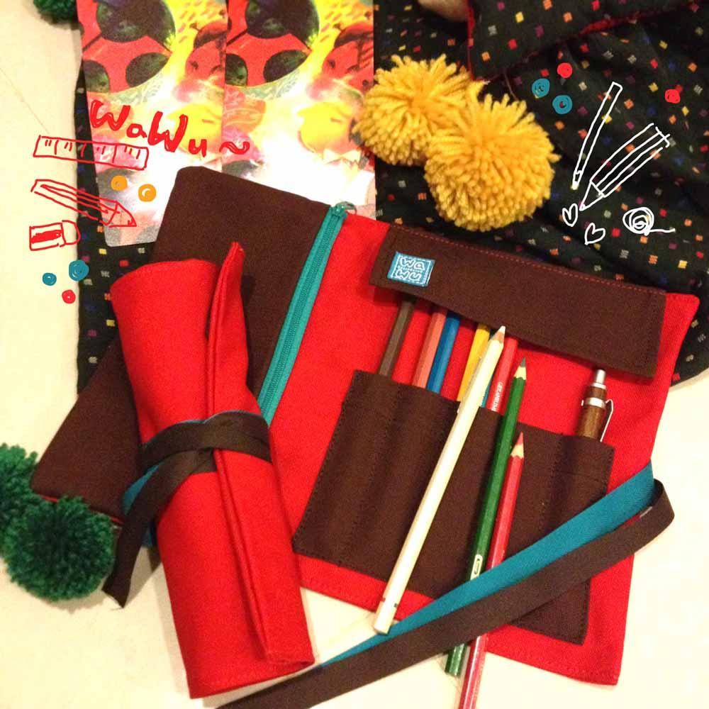 WaWu|筆捲/工具袋(紅色帆布)