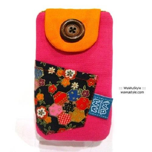 WaWu|鈕釦手機袋-附繩 (桃紅帆布)