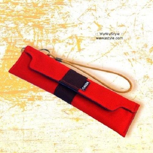 WaWu|筆袋/筷套-附繩附餐具(紅色帆布)
