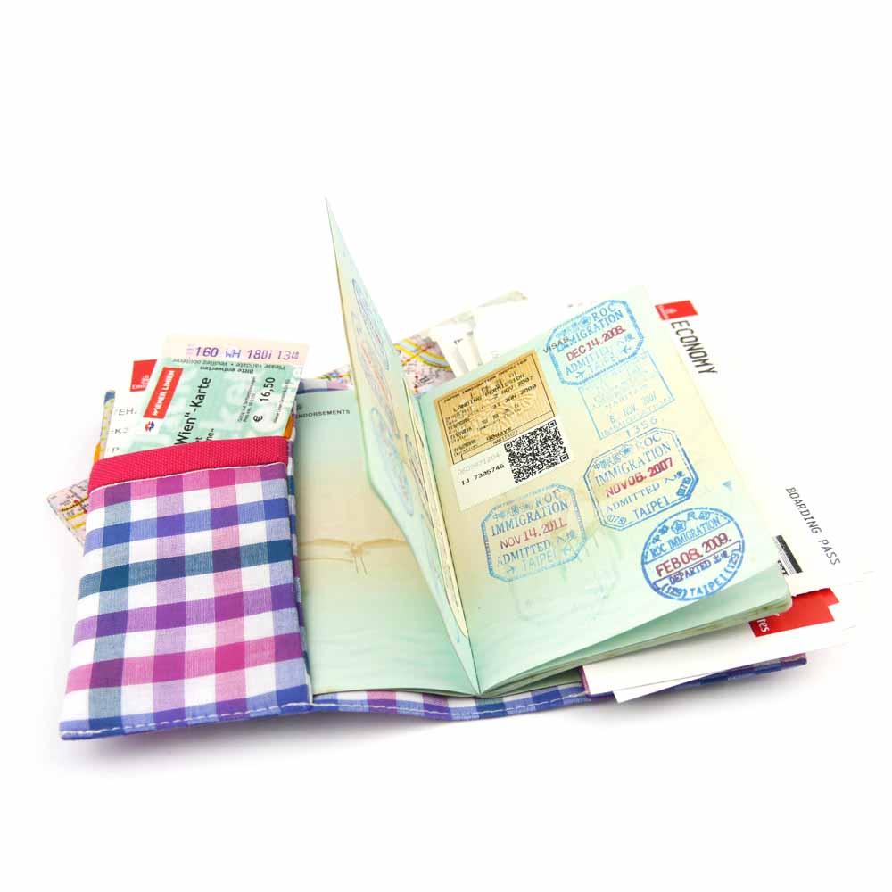 WaWu|護照套(繽紛紫格)