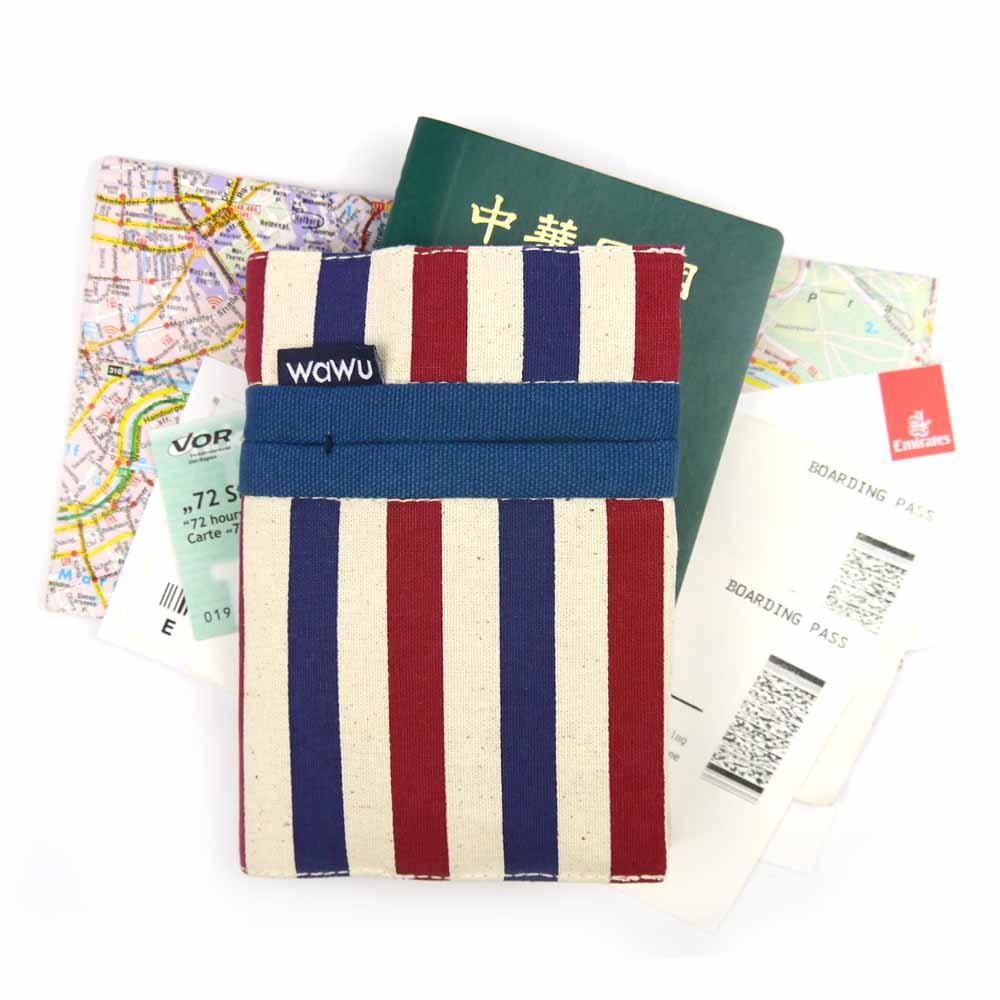 WaWu|護照套(條紋)