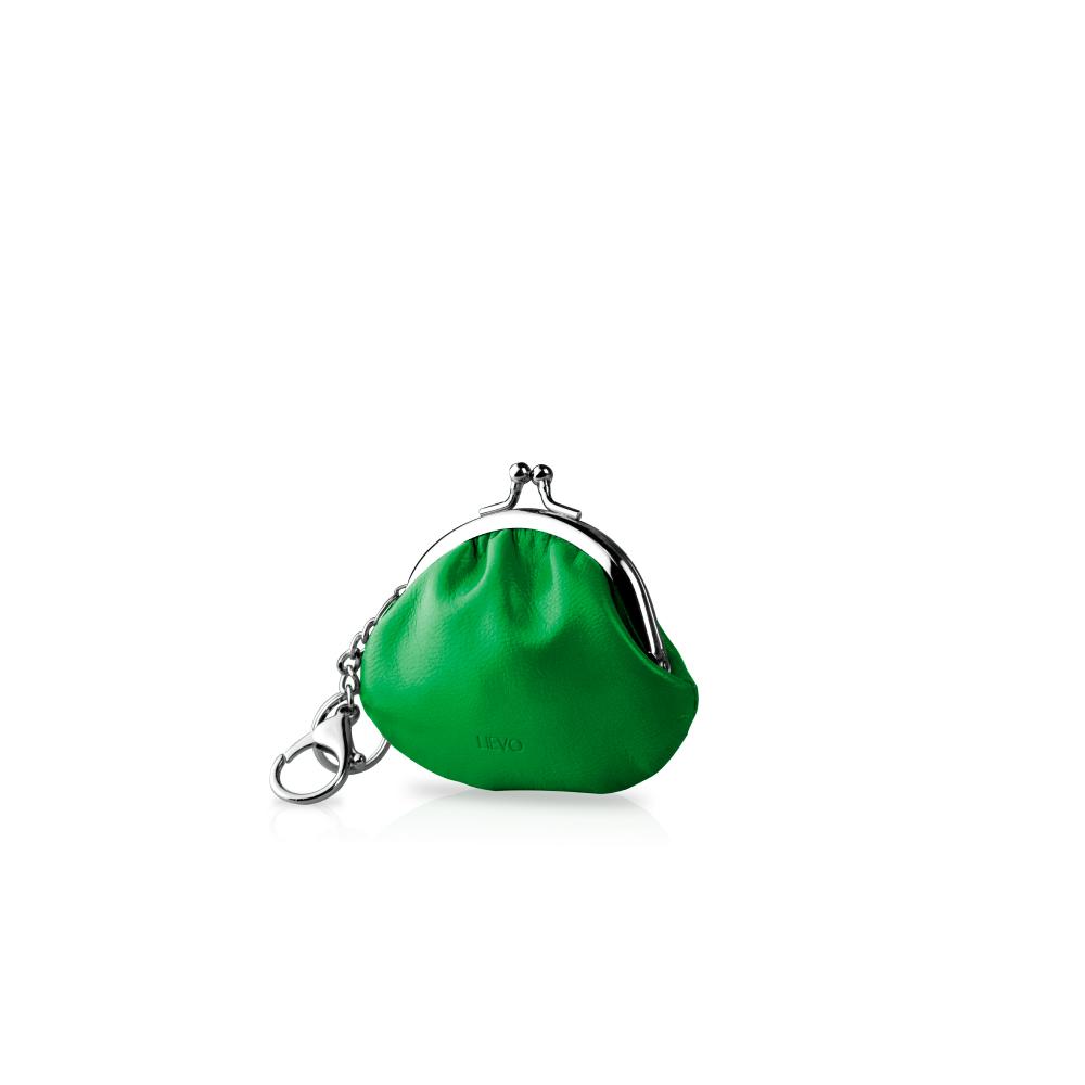 LIEVO|真皮零錢鑰匙口金包-SMILE(森林綠)
