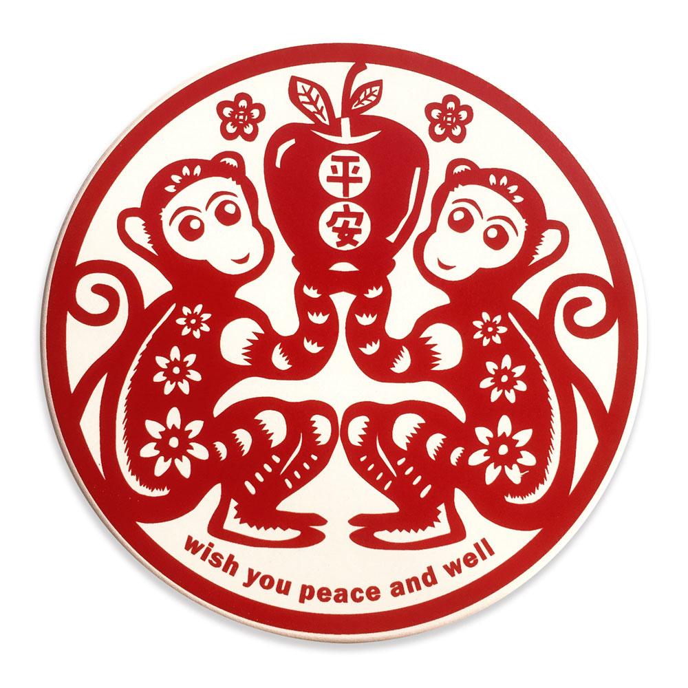寶號BONHO 猴平安陶瓷吸水杯墊