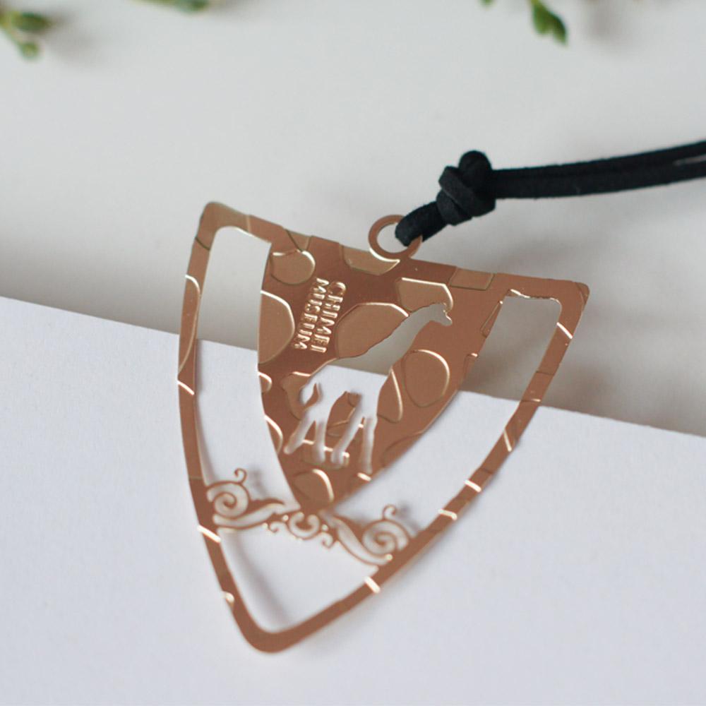 好合苑|長頸鹿盾形金屬書籤(玫瑰金色)