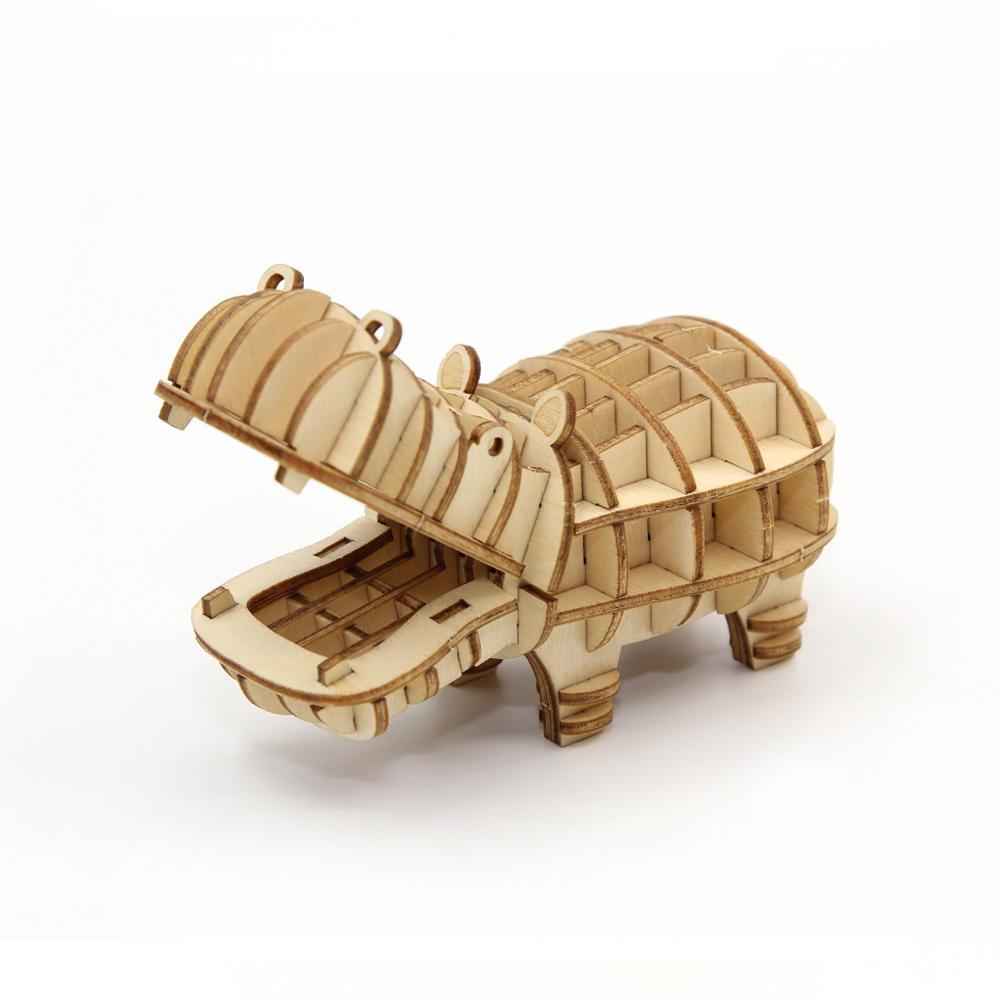 TEAM GREEN│木質3D拼圖-河馬