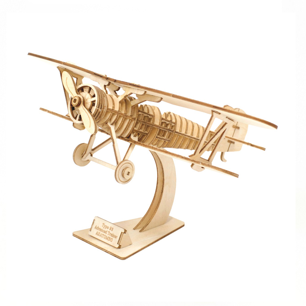 TEAM GREEN│木質3D拼圖-雙翼飛機