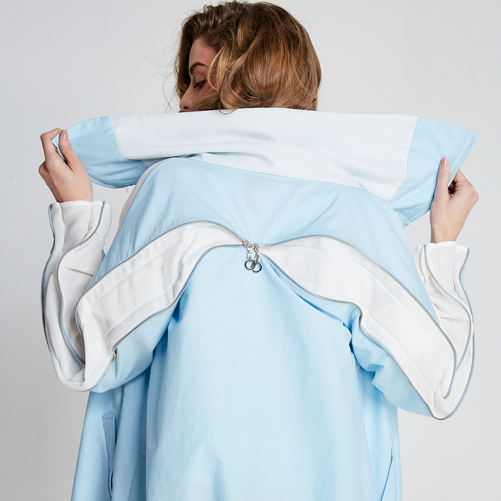 design+|連身藍開襟長版衣(FIT1701JK01BL)