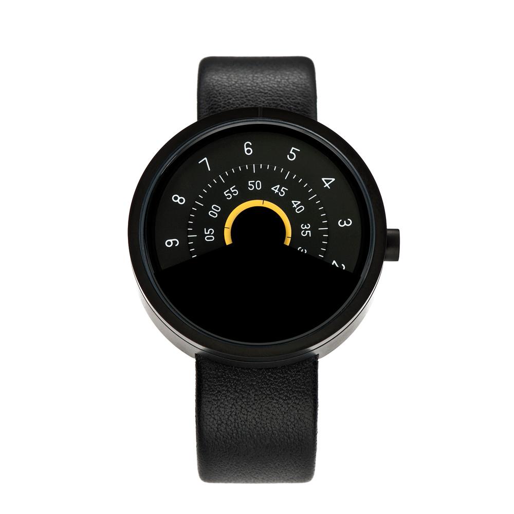 ANICORN Series 000 簡約時尚轉盤機械手錶-Yellow(純鋼霧面黑+黃色)