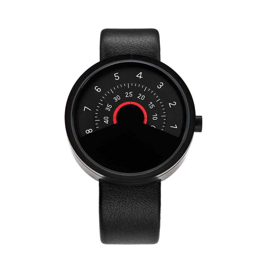ANICORN|Series 000 簡約時尚轉盤機械手錶-Red(純鋼霧面黑+紅色)