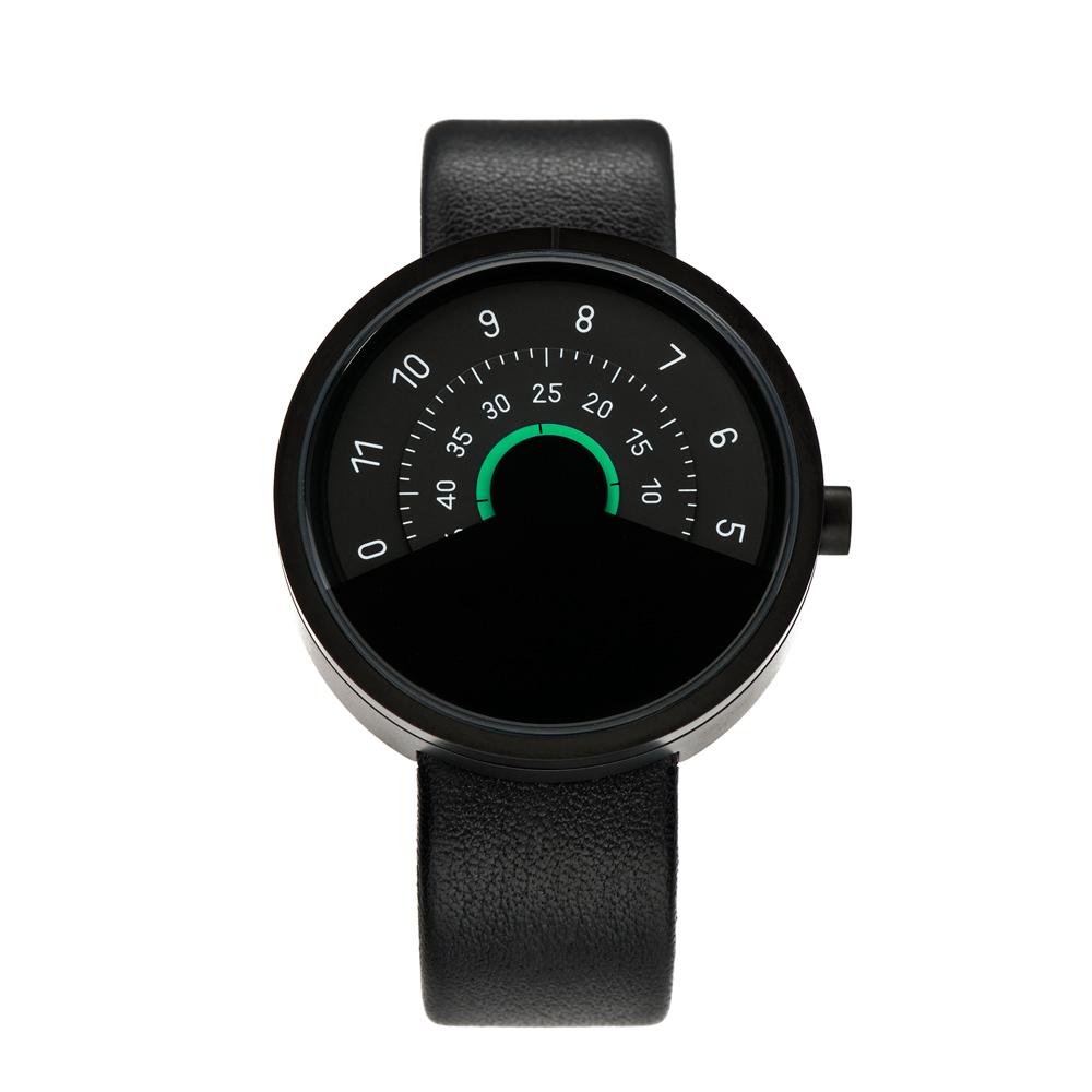 ANICORN|Series 000 簡約時尚轉盤機械手錶-Green(純鋼霧面黑+綠色)