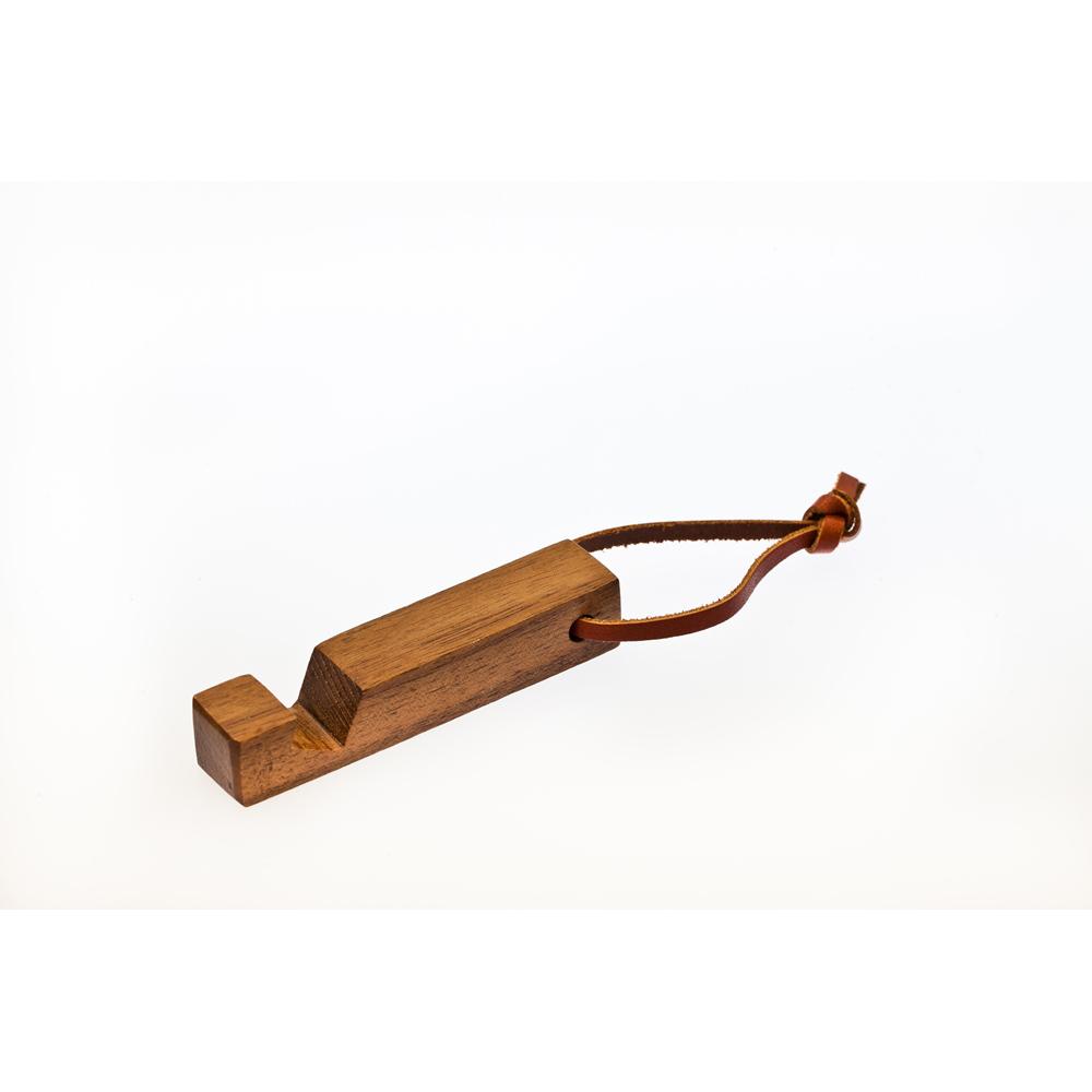 石三木廠|原木鑰匙圈兼手機座(胡桃木)