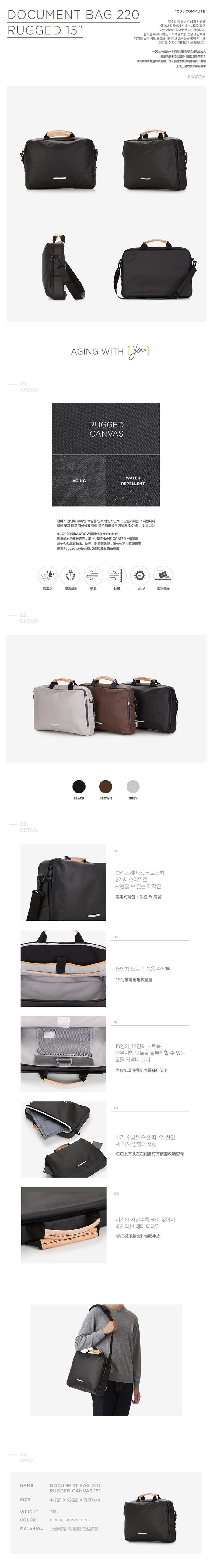 (複製)RAWROW|帆布系列-13吋三用簡約休閒包(手提/肩背/側背)-深棕-RBF120BR