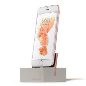 Native Union|iPhone Dock重磅矽膠手機座(玫瑰岩)-附Lightning充電線/1.2M(卡其)