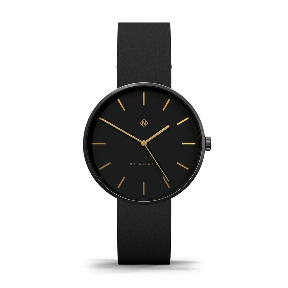 Newgate | DRUMLINE-靜謐黑-義大利皮革錶帶-40mm