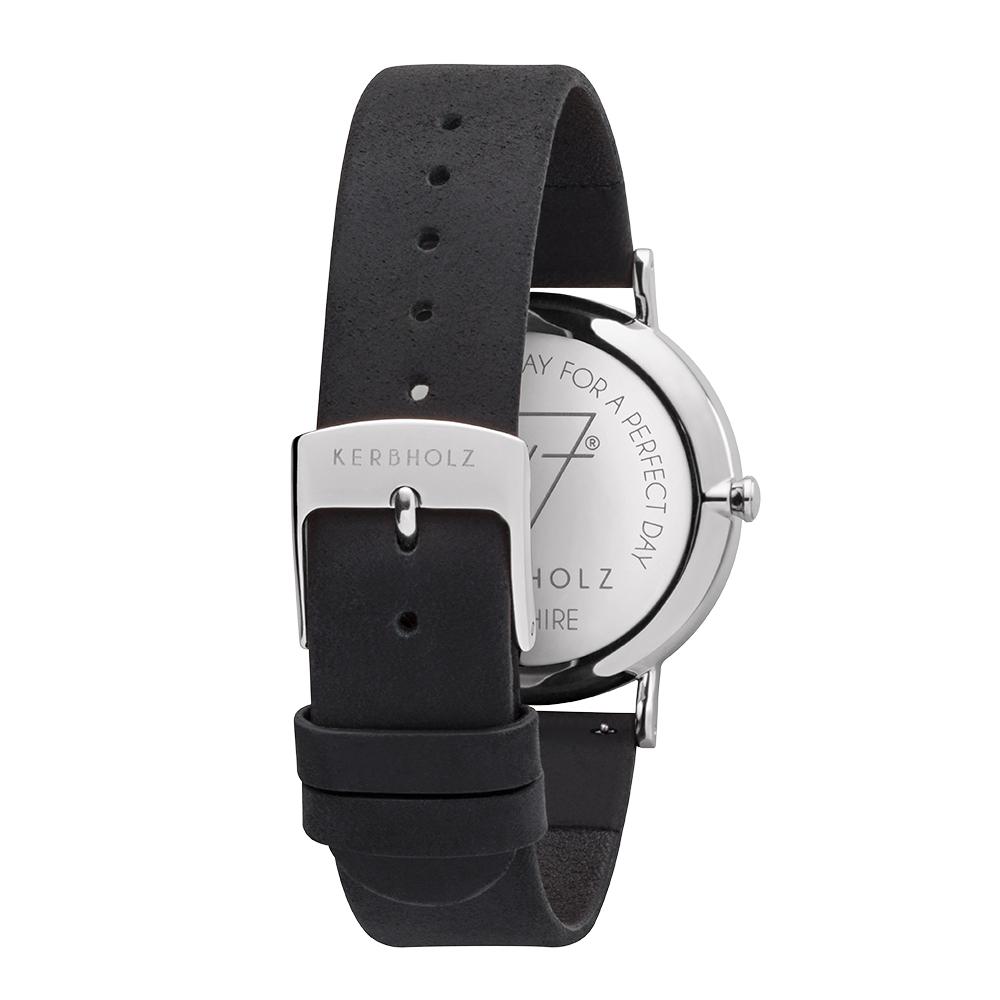 KERBHOLZ 原木手錶 FRIDA-核桃木-銀(35mm)