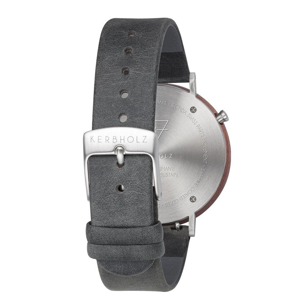 KERBHOLZ 原木手錶 SLIM-核桃木-暗灰(40mm)
