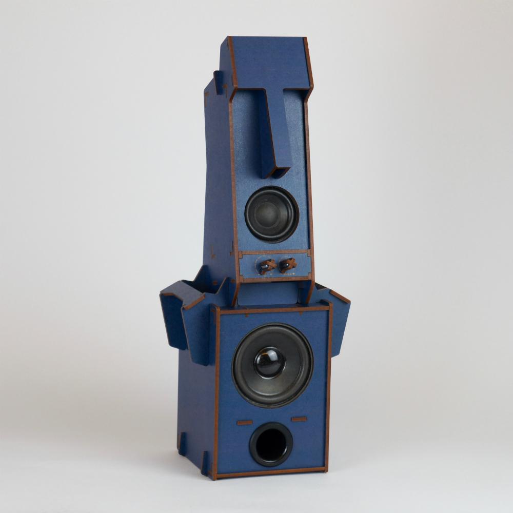 小山坡|立體拼圖音響 - 摩艾石像(1.1聲道 低音)/ 深藍色