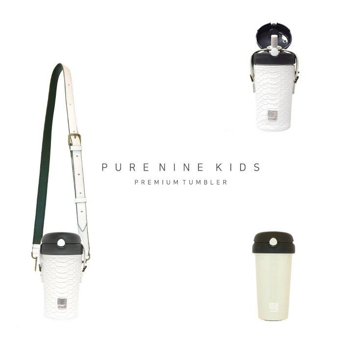 韓國PURENINE Kids兒童時尚彈蓋保溫杯-290ML-白色皮套+黑蓋瓶