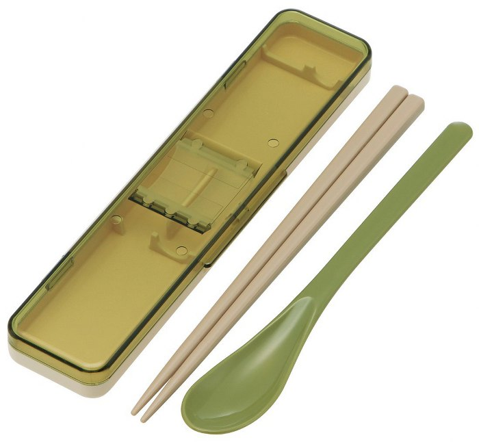 Skater|復古風環保筷子+湯匙組 透明蓋 18CM-綠