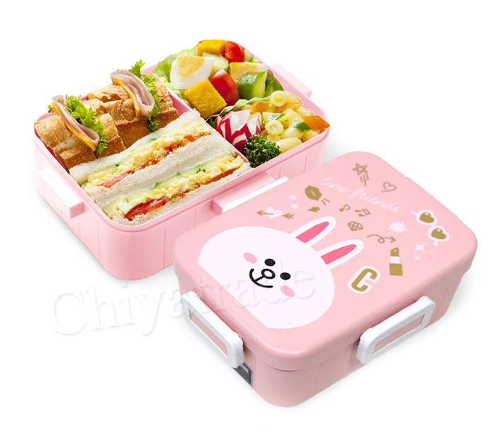 Skater|無印風便當盒 保鮮餐盒 650ML-熊大+兔兔(兩入組)