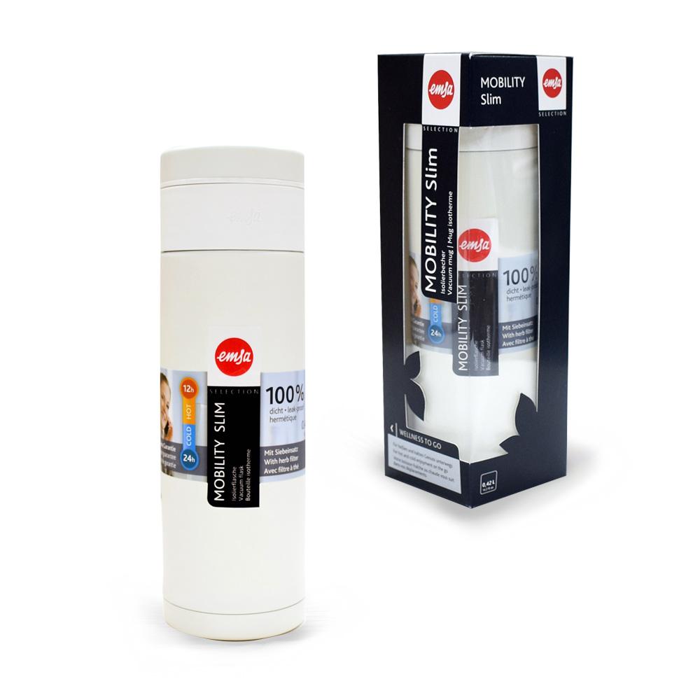 德國EMSA 隨行輕量保溫杯MOBILITY Slim 420ml-潔白