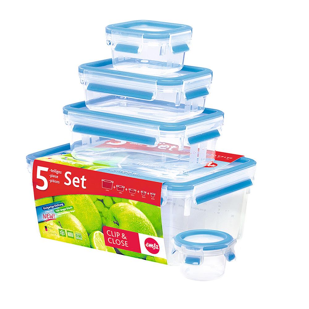 德國EMSA 專利上蓋無縫3D保鮮盒德國原裝進口-PP材質(保固30年)(0.15/0.25/0.55/1.0/3.7L)5件組