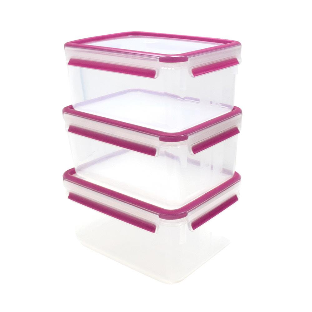 德國EMSA|專利上蓋無縫3D保鮮盒德國原裝進口-PP材質(保固30年) (2.3LX3)三件組-玫紅色