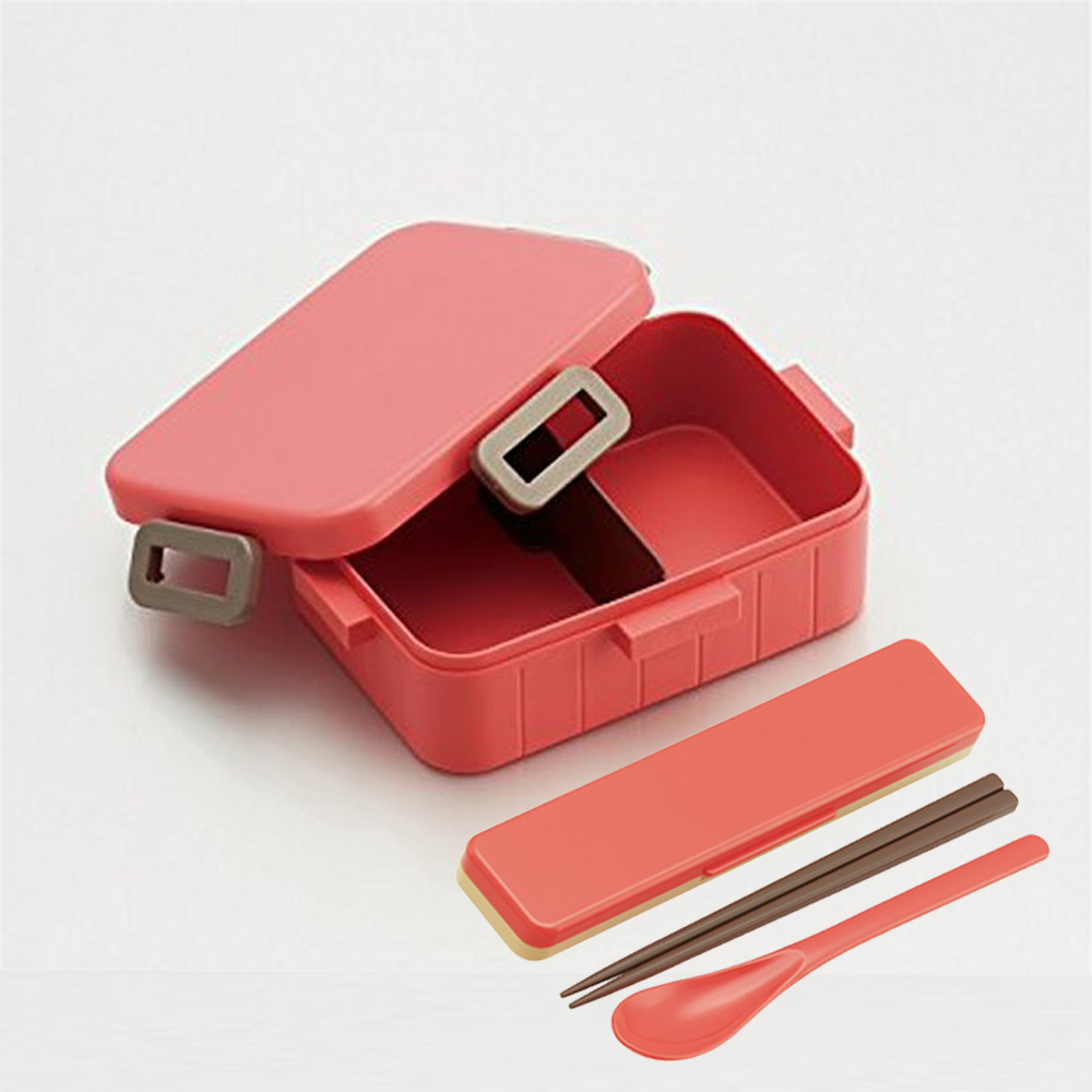 Skater|無印風便當盒 保鮮餐盒筷子組 650ML粉色