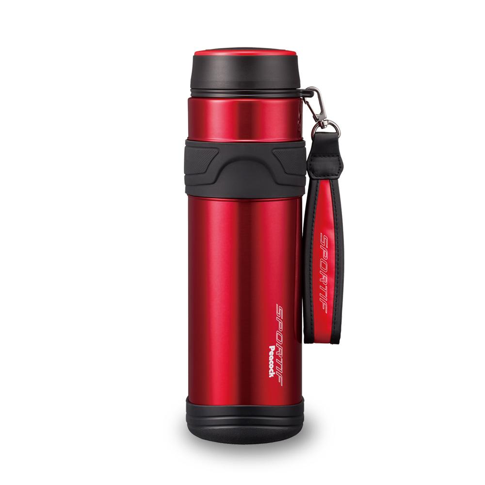 日本孔雀Peacock 運動專家316不銹鋼保溫杯1000ML(附提帶設計)-紅色