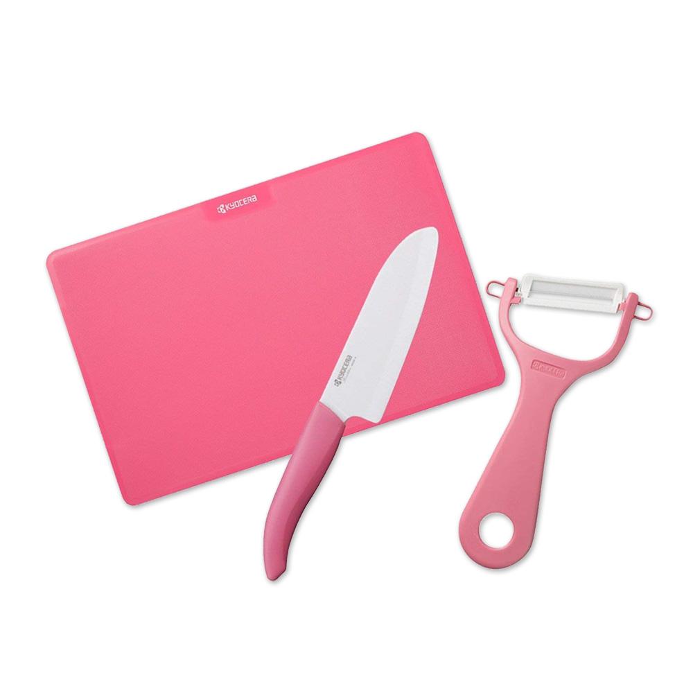 KYOCERA日本京瓷|抗菌陶瓷刀 削皮器 砧板 超值三件組-粉色