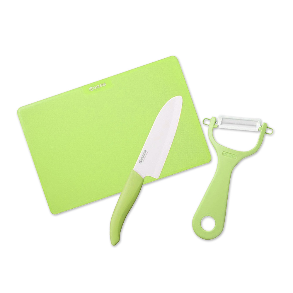 KYOCERA日本京瓷 抗菌陶瓷刀 削皮器 砧板 超值三件組-綠色