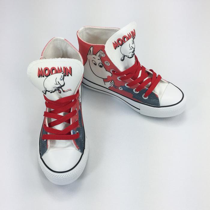 YOSHI850|Moomin嚕嚕米正版授權:帆布鞋【01 白鞋紅帶】