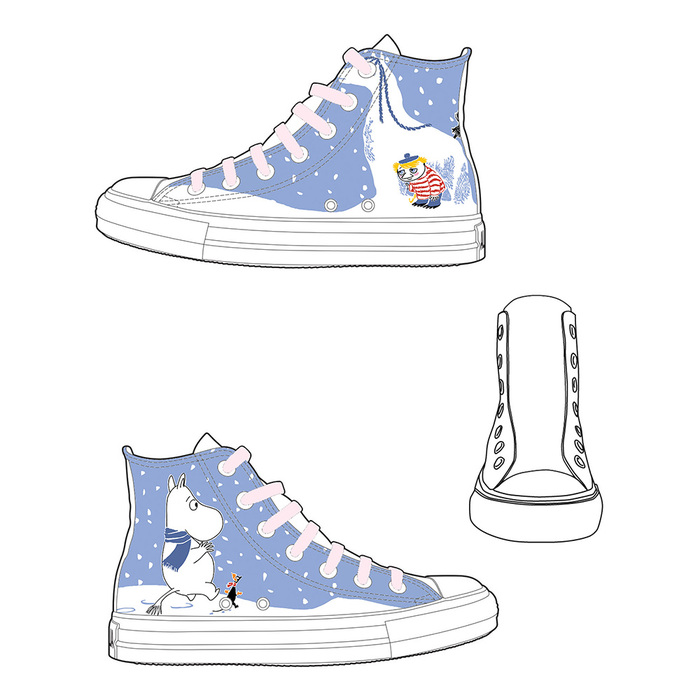 (複製)YOSHI850|Moomin嚕嚕米正版授權:帆布鞋【10黃鞋藏青帶】