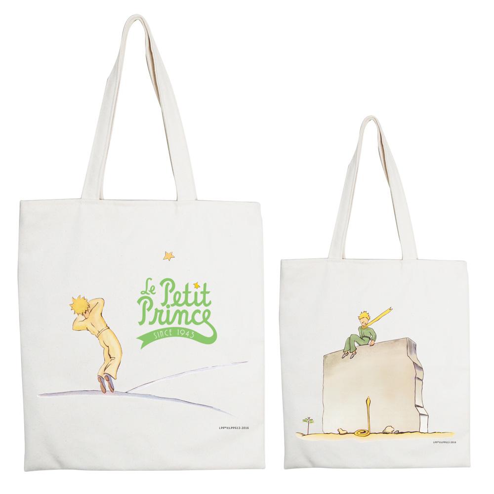 YOSHI850 小王子經典版授權系列:手提購物包【牆角下的黃蛇】米白/麻黃